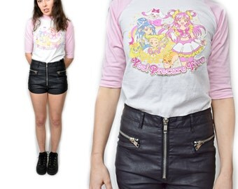 FREE SHIPPING - Rare Sailor Moon DIY Pastel Kawaii Pink and White Baseball Ringer Tee Japanese Anime Yes! Precure Five Novelty