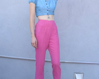 Vintage Minimalist 1990's Pansy Pink High Waisted Tapered Crop Tailored Trousers S 26