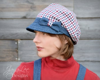Patriotic Hat Slouchy Visor Beanie Newsboy Cap Head Covering