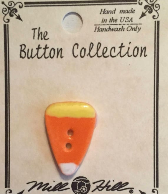 Ceramic Candy Corn Button, Fall Button, Hand Painted, Mill Hill Button Collection, Sewing, Crafting, Cross Stitch, Embellishment