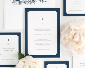 Elegant Border Wedding Invitations - Sample