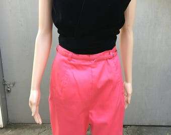 60s 50s Bermuda HOT PINK shorts with matching belt LARGE