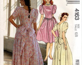 1980s Womens Dress Pattern - Vintage McCall's 4163 - Size 6 8 UNCUT FF Bridesmaid Party Puff Sleeves Back Bow Basque Waist
