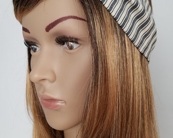 Turban,Headband,Stripe,Birthday,Gift,Costume,1920s,Flapper,The Great Gatsby,Hat,Hair,Turband,woman,present,gift,Black,White,Stripes