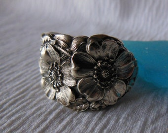 Untamed Rose   Antique  Spoon Ring    Sterling Silver  Size