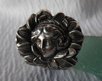 Water Lily Sprite  Antique Spoon Ring  Sterling Silver  Size 6.5