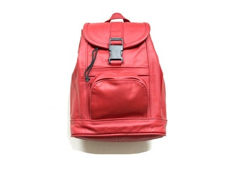 Vintage Leather Backpack / Red Leather Backpack / Drawstring Backpack / Mini Backpack