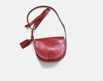 Vintage Mini Leather Bag / Leather Satchel / Mini Purse / Equestrian Purse