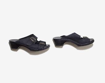 Vintage Leather Clogs 7 / Black Leather Sandals / Black Leather Mules / Buckle Sandals