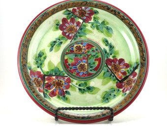 Green Ceramic Plate - Handmade Floral Pottery Platter - Red Flower Design - OOAK Collectible