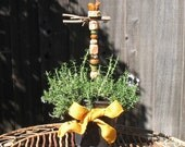 Flowerpot Decoration - Hand-Sculpted Clay Bird and Nest on Real Branch - Ceramic Mini Stake with 9 Handmade Beads - Gift Plant Totem