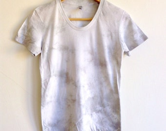 Hand Dyed Gray T-shirt in Crystal Clouds - Small