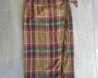 Vintage FRINGE Plaid Breeches WOOL Skirt (s-m)