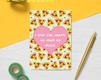 Pizza Greeting Card, fun valentine's card, pizza addict card, cute love card, fun friendship card, alternative valentine's card, pizza art