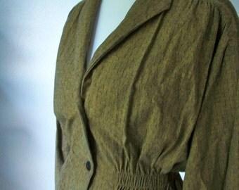 Mossy brown elastic waist blazer by Jean L'Maurent Paris New York