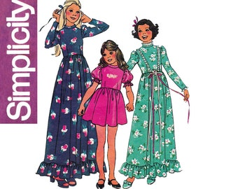 Simplicity 6736 Girls Boho Dress or Maxi 70s Vintage Sewing Pattern Size 8 Breast 27 inches