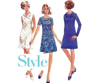 Style 2481 MOD A Line Shift Dress 60s Vintage Sewing Pattern Size 12 Bust 34 inches