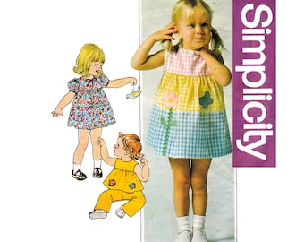 Simplicity 7988 Toddler Girls Smock Dress or Puff Sleeve Top & Pants 70s Vintage Sewing Pattern Size 1 Breast 20 Inches