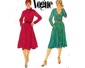 Vogue 7885 Womens V or Cowl Neck Dress Pattern 80s Vintage Sewing Pattern Size 10 Bust 32 1/2 inches UNCUT Factory Folded