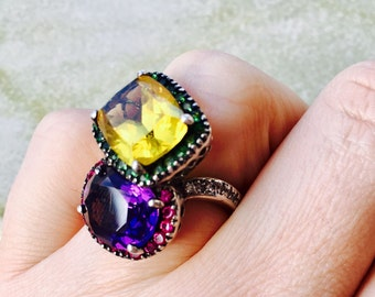 Sterling Silver Genuine Precious Stones Ring