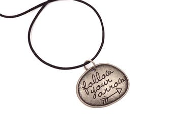 Leather Choker - Inspirational - Inspiration Jewelry - Quote Necklace - Graduation Necklace - Graduation Gift - Gift for Her