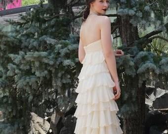 Vintage Silk Ivory Cream Elegant Layered Frilled Hippie Boho Lace Empire Waist Strapless Wedding Dress