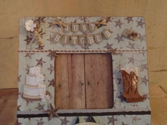 Country Western Wedding Decoupaged Picture Frame From