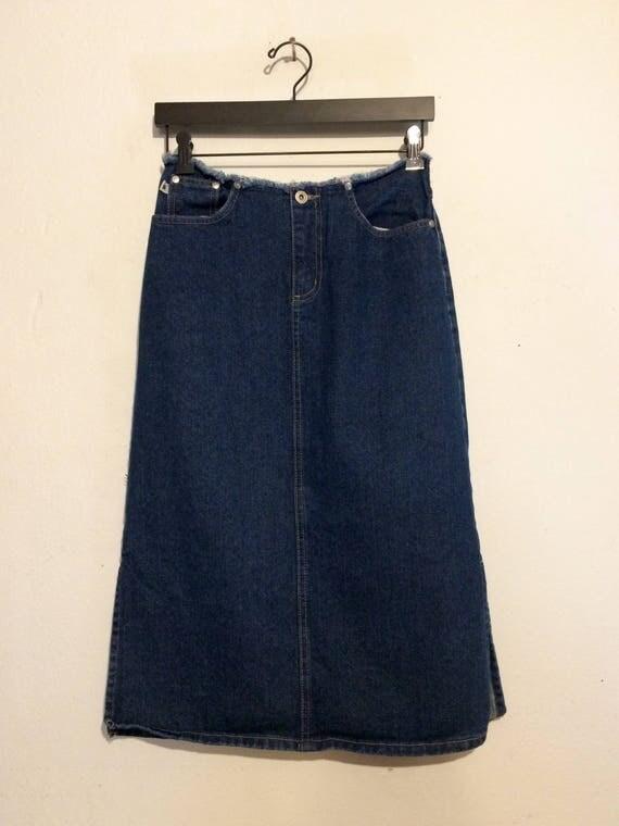 Fray Hem Jean Midi Skirt