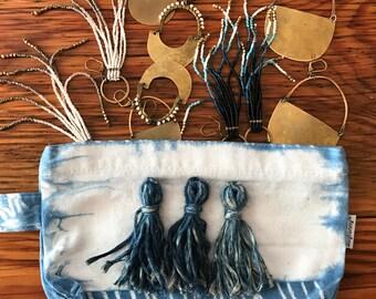 Indigo Shibori Cosmetic Pouch with Blue Tassels