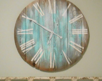 30 inch clock reclaimed wood, rustic, primitive, barn wood, Beachy Blues,Nautical, Tawnystreasures