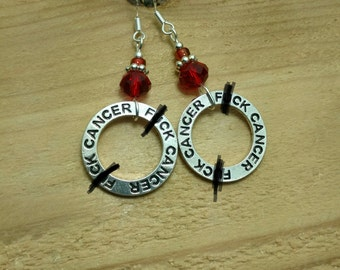F*ck Cancer Earrings, Red F*ck Cancer Hoops Sterling Silver Earrings, Red Cancer Earrings, Silver F*ck Cancer Earrings