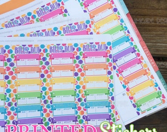 3 sheets Monthly Bills Due Checklist for Budgeting - Rainbow - printed kiss cut stickers for planner or calendar - full sheet - MATTE - GRCS