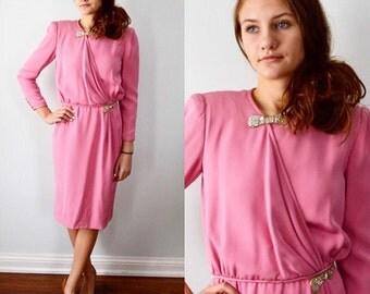 Vintage Dress, 1970s Dress, Valentino Night, Valentino,  Pink Evening Dress, Dinner Dress,  Pink Formal Dress, Wedding