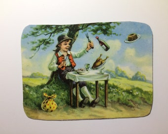 Magnet with upcycled scrap illustrations, Table-Be-Set