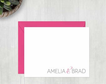 Personalized Stationery • Chic Couple {FOLDED} • 10 Note Cards with Envelopes • Personalized Stationary • Custom Thank You Notes • Notecard