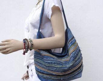 Denim bag raggy slouchy Hobo bag handbag purse recycled upcycled small