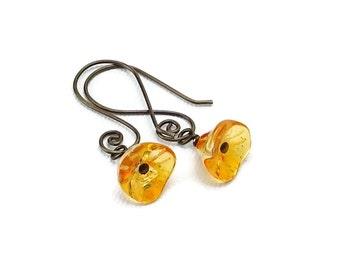 Bronze-color Niobium Earrings Orange Flowers, Sunshine Orange Flowers on Swirly Brown Ear Hooks, Hypoallergenic No Nickel Niobium Earrings