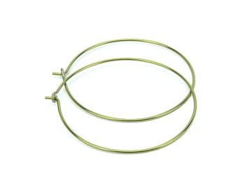 Niobium Hoop Earrings Gold Extra Large Niobium Hoops, No Nickel Hoops, Hypoallergenic Hoops For Sensitive Ears, Anodized Niobium