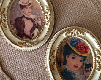 SALE Set of 2 Vintage Oval Frames Huldah Mid Century Ladies