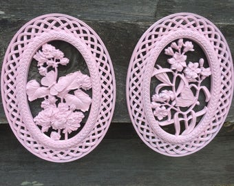 Vintage Syroco Wall Decor Oval Plaques Faux Wicker Pink Floral