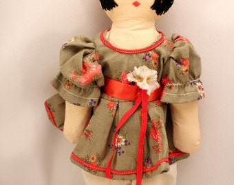 Vintage Rag Doll Handmade Embroidered Face Yarn Hair Country Style Dress Crochet Hat