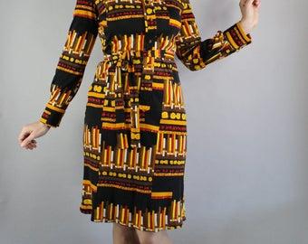 70s Womens Librarian Bookstacks Print Dress, Rare Print, Long Sleeve, Knee Length, Mod, Office Dress, Nerd Dress, Medium, FREE SHIPPING