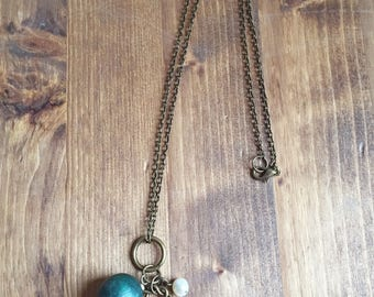 Upcycled Charm Necklace with Green Wooden Bead and Freshwater Pearl  Charms