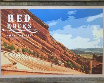 Red Rocks Amphitheater, Vintage Colorado Destination Poster