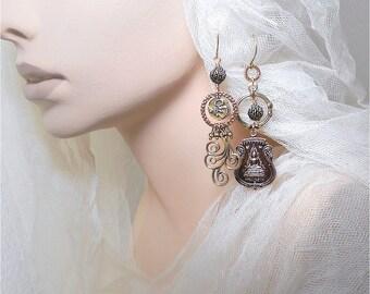 Thai Buddha OOAK Asymmetrical Earrings Rustic Tribal Earrings Copper Bronze Buddhist Amulet Earrings Swirl Assemblage Festival Earrings