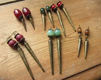 Spike Earrings, Rustic Boho Earrings, Tribal Earrings, Upcycled Recycled Jewelry, Spike Jewelry, Dangle Earrings, Hippie Bohemian Fashion