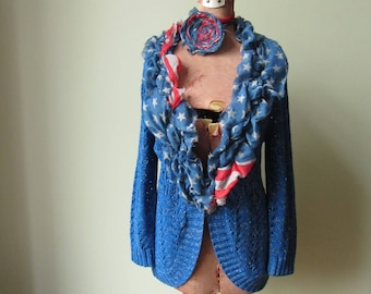 American Flag Sweater, 4th of July Clothing, July Fourth Tops, Recycled Repurposed Tattered Cardigan, Upcycled Sweaters, Patriotic Clothing