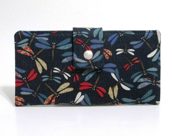 Handmade women wallet - Happy and colorful dragonflies on dark blue - Custom order - clutch purse - Gift ideas for her - red and blue
