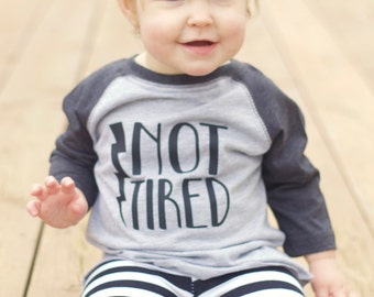 NOT TIRED tee shirt or onesie - Kids raglan tshirt - Baby shower gift - Mothers Day gift - New Baby Gift - Baby superhero - Superkidcapes