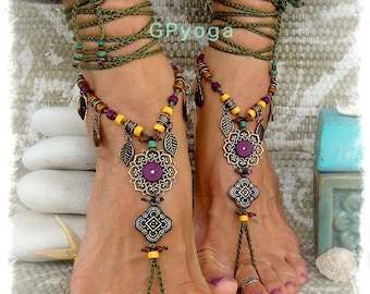 Woodland FAIRY BAREFOOT sandals Purple Olive Green Tribal Gypsy Dance Sandal Boho Garden Wedding Crochet sandals Nature Leaf jewelry GPyoga